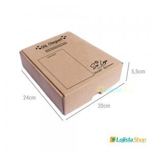 Caixa de Papelão para E-commerce Personalizada 24X20X5,5cm Papelão 340g 24X20X5,5cm 1x0   Criação da arte Grátis