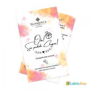 Cartão de Agradecimento Cliente 15x09cm Papel Couchê 250g 15x09cm 4x4 - Frente e Verso Colorido Brilho Total Frente  Criação da arte Grátis
